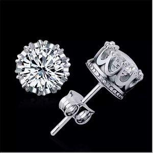 New 925 silver crown stud earrings for men women